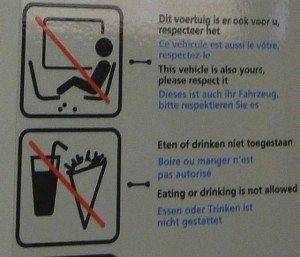 Here's a German sign, letting people know that there should be no pooping on seats, or while drinking or eating a snow cone....