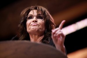Sarah Palin, seen here identifying the one who told her to make the comment about baptizing terrorists by water boarding.