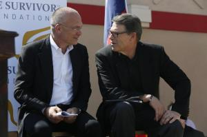 Here we see a Hardee's Commercial staring Mr. Pudzer and Texas Governor Rick Perry.... Within moments, they will be almost naked and wrestling on a hay bale.