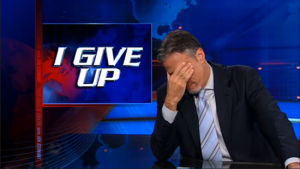 When watching The Daily Show makes you feel closer to God than going to Church, you might be getting ready to give up.