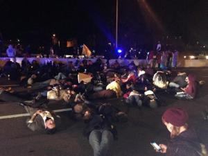 Protesters on I-24 near LP Field