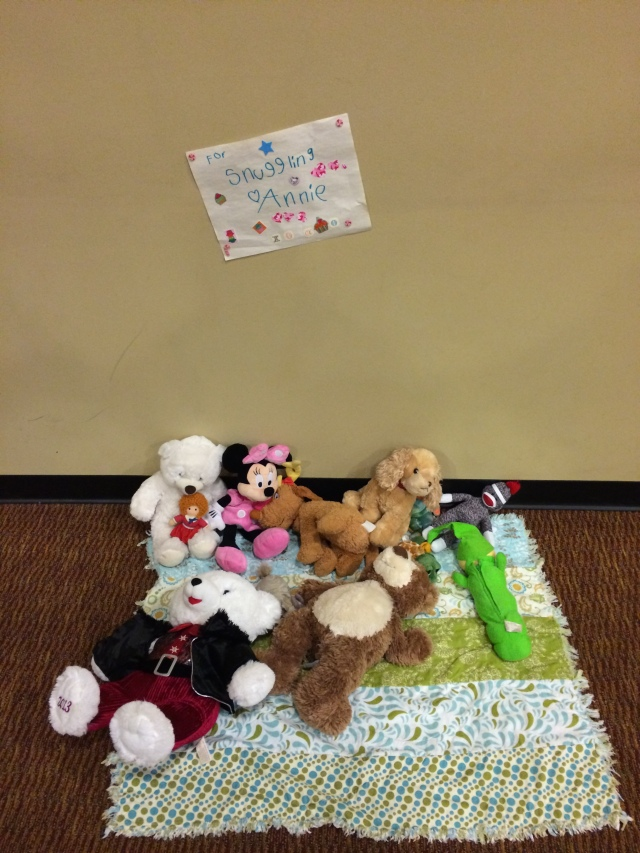 A kid from our Church set up a Snuggling Station, just in case the people who were staying there needed some snuggles.... [Cue me crying]